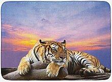 mintlmk Tiger Bunte Sonnenuntergang Matte