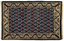 Mir Indien ca. 85 x 60 cm · Blau · handgeknüpft · Schurwolle · Klassisch · hochwertiger Teppich · 12520