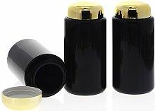 Mironglas Dose 200 ml, Weithals Kosmetex Violett-Glas Vorratsdose m. Schraubverschluss Gold, Miron, 3× 200 ml