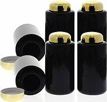 Mironglas Dose 300 ml, Weithals Kosmetex Violett-Glas Vorratsdose m. Schraubverschluss Gold, Miron, 6× 300 ml