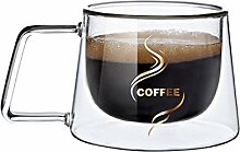 Miruike Doppelwandige Espresso-Tasse mit Henkel,