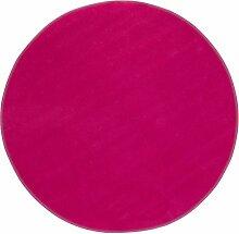 Misento Teppich Velours Kurzflorteppich Flachteppich weich Wohnzimmer Schlafzimmer Flur Essbereich 100% Polypropylen schadstofffrei strapazierfähig pflegeleicht umkettelt, 100 cm rund, pink