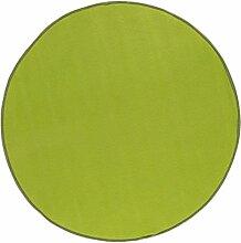misento Teppich Velours Kurzflorteppich Flachteppich weich Wohnzimmer Schlafzimmer Flur Essbereich 100% Polypropylen schadstofffrei strapazierfähig pflegeleicht umkettelt, 100 cm rund, grün