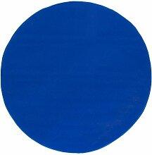 misento Teppich Velours Kurzflorteppich Flachteppich Weich Wohnzimmer Schlafzimmer Flur Essbereich 100% Polypropylen schadstofffrei strapazierfähig Pflegeleicht umkettelt, 100 cm Rund, Blau