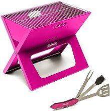 missfixx Pinker BBQ Klappgrill mit Grill-Multi-Tool