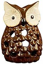 Misslight Eulen Figur Haus Warming Geschenk Tabletop Regal Keramik Hause Dekorative Kerzenhalter Sammler Figur Statuen (Style3)