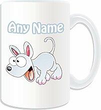 Mit persönlicher Gravur, groß, Weiß, Tasse, Tier Design, Tier Motiv, Weiß) Name/Nachricht auf das einzigartige Tasse-Welpe