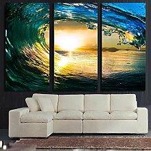 Mit Rahmen 3 Panel Rolling Wave Landschaft Leinwand Gemälde Cuadros Home Dekoration Wand Kunst Bilder Malerei für Wohnzimmer Drucke, 50 x 70 cmx 3 Stk.