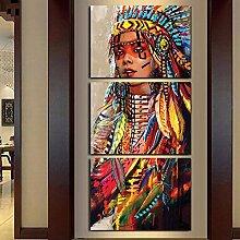 Mit Rahmen Leinwand Wand Kunst Leinwand Gemälde Landschaft 3 Panel Native American Indian Girl gefiederten Wall Bilder für Wohnzimmer HD-Print, 40 x 60 cmx 3 Stk.