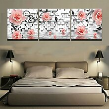 Mit Rahmen Modular Bilder 3 Stück rosa Rosen