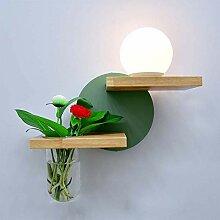 Mit Vase Wandleuchte Nachtlicht Holz Wandlampe