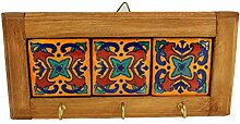 Mitienda Schlüsselbrett aus Holz und Keramik mit