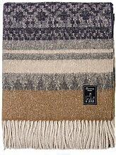MITOS Braune Wolldecke Kuscheldecke Highland mit Alpakawolle, Schurwolle etc. Alpakadecke Sofadecke 150cm*200cm Muster