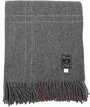 Mitos Natur Graue Wolldecke plaid mit weißen Streifen rot Alpaka Wolle Schurwolle Kuscheldecke (Grau weiße Streifen mit rot)