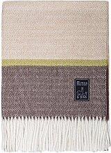 Mitos Natural Elegance - Alpakadecke 100% Alpaka Wolle Natur beige hellbraun dunkelbraun rot grün Streifen Fischgrät Muster Fransen (Grün dunkelbraun)