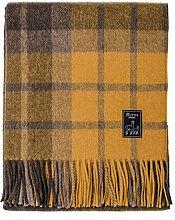 Mitos Natural Elegance - Braune Wolldecke mit gelb, curry karos, mit Alpakawolle, Schurwolle etc. 150cm x 200cm