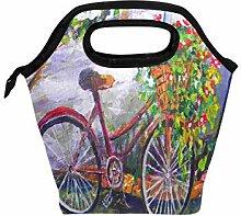 Mittagessen Einkaufstasche Garten Fahrrad Blume