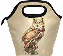 Mittagessen Tasche Aquarell Eule Vogel Isolierter