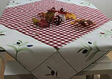 """Mitteldecke """"Olive"""" Tischdecke Bestickt Karo Landhaus ca. 85 x 85 cm Weiß / Ro"""