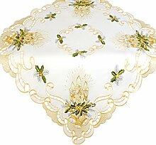 Mitteldecke Tischdecke sorgt für eine festliche Stimmung Größe 85x85cm Weihnachten Kerzen Gold Grün mit hochwertig bestickten Motiven Mitteldecke Winter Advent Weihnachtsdeko