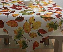 Mitteldecke Tischdecke Tafeltuch Tischtuch Herbst Blätter-Motiv Leinen Optik ca. 85 x 85 cm Weiß/Bun