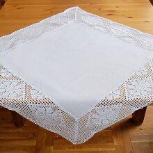 Mitteldecke Tischdecke weiß mit Häkelkante 85x85