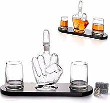 Mittelfinger Neuheit Whisky Dekanter 2 Becher