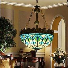 Mittelmeer Pfau blau Kunst-Glasleuchter Wohnzimmer im europäischen Stil einzigen Studie Schlafzimmer Flur Treppe Tiffany-Lampen