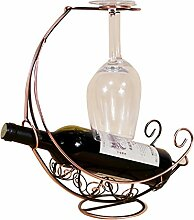 Mittelmeer-Stil Piratenschiff Design Weinflasche Halter Tabletop 2 Weinglas Rack Holder Flasche Server Kreativ Vintage Wein Racks Dekoration Wohnzimmer Bar Cafe Antique Red Kupfer-farbigen Bronze Gun Black Gold ( Color : Black )