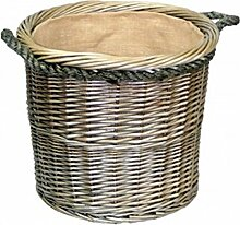 Mittlere Antike Wäsche Rundes Seil Handled Log Korb