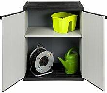Mittlerer Kunststoffschrank mit spritzwassergeschützter Deckel- & Bodenplatte - extra stabil, leichter Aufbau, optimal für den Innen- & Außeneinsatz