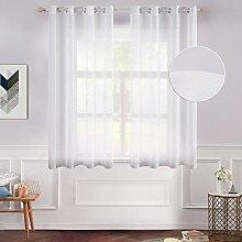 MIULEE 2 Gardinen für Fenster, halbtransparent,