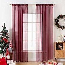 MIULEE 2er Set Voile Christmas Weihnachten Vorhang