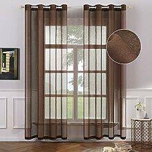 MIULEE Gardinen für Fenster, halbtransparent, mit