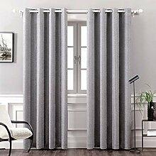 Miulee Thermo-Leinen-Vorhang für Wohnzimmer
