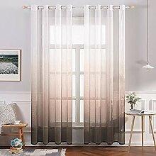 MIULEE Vorhang aus Leinen, transparent, mit Ösen,