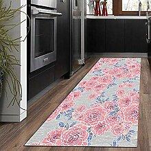 miwaimao Grauer Teppich mit pinkem Blumenmuster,