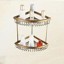 MIWANG Alle Kupfer antik Dreieck Regal, Badezimmer Retro winkel Stativ, Breitseite Double Deck