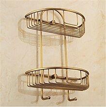MIWANG Alle Kupfer antik Regal, Europäischen Badezimmer Anhänger, Badezimmer Retro mit Doppelfach
