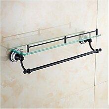 MIWANG Blau und Weiß Porzellan, Schwarz Bronze, Badezimmer Rack, Anhänger, europäischen Stil alle Kupfer antik Faltbare Badewanne Handtuchhalter, S-Glas Regal mit Handtuchhalter
