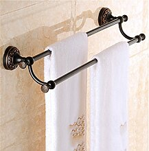 MIWANG Continental amerikanische Schwarz alle Kupfer Handtuchhalter, Handtuchhalter, antik Regal, Badezimmer Anhänger, B - Zweipolig
