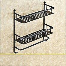 MIWANG Die Europäische antike Kupfer Bad Regal Handtuchhalter, Handtuchhalter, Retro mit Doppelfach Haken Anhänger, D