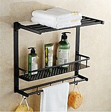 MIWANG Die Europäische antike Kupfer Bad Regal Handtuchhalter, Handtuchhalter, Retro mit Doppelfach Haken Anhänger, F
