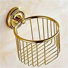 MIWANG Europäische Keramik Antik Gold Kupfer Porzellan Warenkorb, Handtuchhalter Warenkorb Toilettenpapierhalter Bad Regal