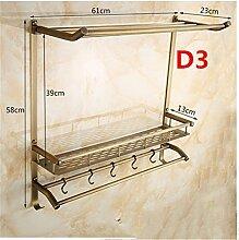 MIWANG Europäische Messing antik Doppel Handtuchhalter, Badezimmer Regal Kosmetik Rack Hook, D3-60 Cm