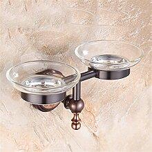 MIWANG Im europäischen Stil alle Kupfer Seifenschale, Bad Orb Soap Box Rack, Badezimmer Keramik Glas Regal, F