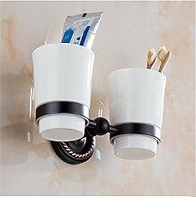 MIWANG Im europäischen Stil antik Schwarz Bronze Bad Handtuchhalter, Handtuchhalter, Regal, Badezimmer Anhänger, L-Double Cups