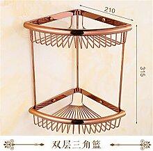 MIWANG Im europäischen Stil, Badezimmer, alle Kupfer Hardware Anhänger Set, Rose Gold Handtuchhalter Regal, Double Deck Warenkorb