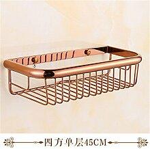 MIWANG Im europäischen Stil, Badezimmer, alle Kupfer Hardware Anhänger Set, Rose Gold Handtuchhalter Regal, Quadrat Warenkorb-45-cm