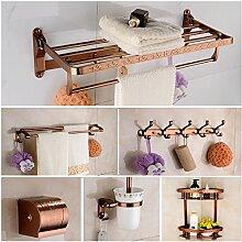 MIWANG Im europäischen Stil Golden wc Regal, Badezimmer Handtuchhalter, Handtuchhalter, Bad Handtuch, Rose Gold 6 Stück Anzug